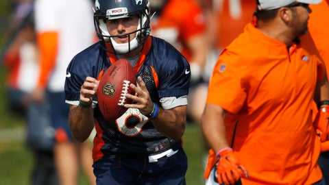 <p>               Denver Broncos quarterback Chad Kelly takes part in drills during an NFL football training camp at the team's headquarters Tuesday, Aug. 14, 2018, in Englewood, Colo. (AP Photo/David Zalubowski)             </p>