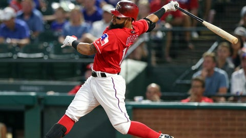 <p>               Texas Rangers' Rougned Odor follows through on his swing on a grand slam against the Baltimore Orioles during the fourth inning of a baseball game Friday, Aug. 3, 2018, in Arlington, Texas. (AP Photo/Richard W. Rodriguez)             </p>