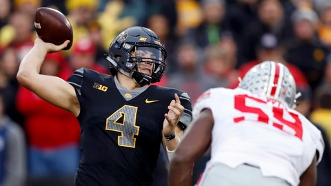 <p>               FILE - In this Nov. 4, 2017, file photo, Iowa quarterback Nate Stanley (4) throws a pass during the second half of an NCAA college football game against Ohio State, Saturday, Nov. 4, 2017, in Iowa City, Iowa. Entering 2018, Iowa looks like it usually does in August, as a decent team with a chance to be a special one. (AP Photo/Charlie Neibergall, File)             </p>