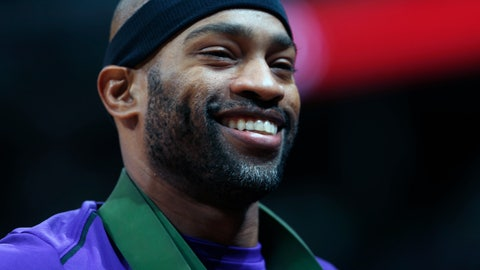 <p>               FILE - In this Oct. 21, 2017, file photo, then-Sacramento Kings guard Vince Carter smiles in the first half of an NBA basketball game, in Denver. Carter, the oldest active player in the NBA, is about to begin his 21st season and first with the Atlanta Hawks, a rebuilding team that's likely to be among the worst in the league. (AP Photo/David Zalubowski, File)             </p>