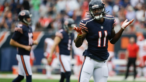 <p>               Chicago Bears' Kevin White celebrates his touchdown catch during the first half of a preseason NFL football game against the Kansas City Chiefs Saturday, Aug. 25, 2018, in Chicago. (AP Photo/Annie Rice)             </p>