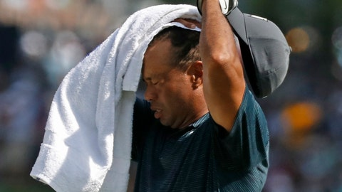 <p>               Tiger Woods wipes sweat from his face on the 17th hole during the first round of the PGA Championship golf tournament at Bellerive Country Club, Thursday, Aug. 9, 2018, in St. Louis. (AP Photo/Brynn Anderson)             </p>