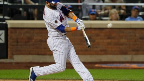 <p>               New York Mets' Jose Bautista hits a home run during the fourth inning of a baseball game against the San Francisco Giants on Wednesday, Aug. 22, 2018, in New York. (AP Photo/Frank Franklin II)             </p>