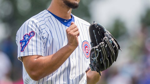 <p>               Chicago Cubs' Yu Darvish reacts after a pitch during the Great Lakes Loons at South Bend Cubs baseball game Sunday, Aug. 19, 2018, at Four Winds Field in South Bend, Ind. Darvish was on rehab assignment with the Class A affiliate of the major league team. (Robert Franklin/South Bend Tribune via AP)             </p>