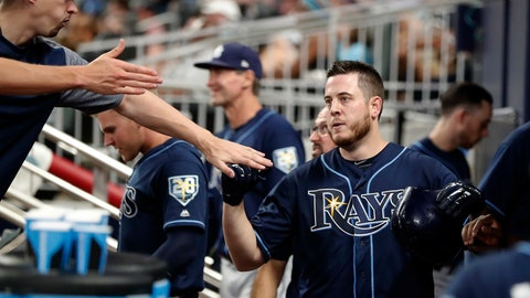 <p>               Tampa Bay Rays' C.J. Cron, right, celebrates in the dugout after hitting a solo home run during the third inning of the team's baseball game against the Atlanta Braves on Wednesday, Aug. 29, 2018, in Atlanta. (AP Photo/John Bazemore)             </p>