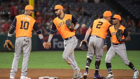<p>               Houston Astros' Yuli Gurriel, Marwin Gonzalez, Alex Bregman and Tony Kemp, from left, celebrate the team's 8-3 win against the Los Angeles Angels in a baseball game in Anaheim, Calif., Saturday, Aug. 25, 2018. (AP Photo/Kyusung Gong)             </p>