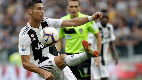 <p>               Juventus' Cristiano Ronaldo controls the ball during the Serie A soccer match between Juventus and Lazio at the Allianz Stadium in Turin, Italy, Saturday, Aug. 25, 2018. (AP Photo/Luca Bruno)             </p>