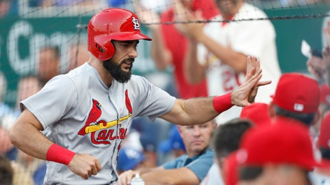 <p>               St. Louis Cardinals' Matt Carpenter is congratulated at the dugout after hitting a two-run home run in the second inning of a baseball game against the Kansas City Royals at Kauffman Stadium in Kansas City, Mo., Friday, Aug. 10, 2018. (AP Photo/Colin E. Braley)             </p>