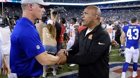 <p>               New York Giants' Pat Shurmur, left, and Cleveland Browns' Hue Jackson shake hands after a preseason NFL football game Thursday, Aug. 9, 2018, in East Rutherford, N.J. (AP Photo/Bill Kostroun)             </p>