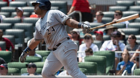 <p>               Milwaukee Brewers' Jesus Aguilar watches his three-run home run during the fourth inning of a baseball game against the Atlanta Braves, Sunday, Aug. 12, 2018, in Atlanta. (AP Photo/John Amis)             </p>