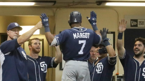 <p>               San Diego Padres' Manuel Margot is congratulated after hitting a home run during the fifth inning of a baseball game against the Milwaukee Brewers Tuesday, Aug. 7, 2018, in Milwaukee. (AP Photo/Morry Gash)             </p>