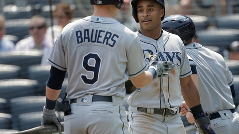 <p>               Tampa Bay Rays' Mallex Smith, right, is greeted by Jake Bauers (9) after scoring a run during the first inning of a baseball game against the New York Yankees at Yankee Stadium Thursday, Aug. 16, 2018, in New York. (AP Photo/Seth Wenig)             </p>