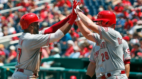 <p>               Cincinnati Reds' Phillip Ervin, left, and Anthony DeSclafani celebrate Ervin's three run homer during the second inning of the first baseball game of doubleheader against the Washington Nationals at Nationals Park, Saturday, Aug. 4, 2018, in Washington. (AP Photo/Alex Brandon)             </p>