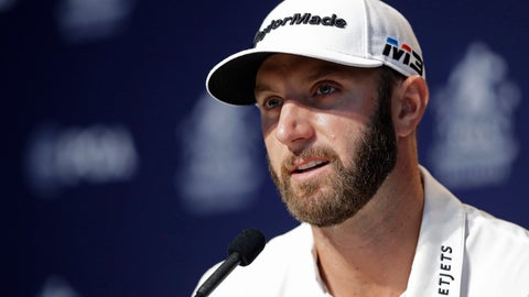<p>               Dustin Johnson responds to a question during a news conference at the PGA Championship golf tournament at Bellerive Country Club, Tuesday, Aug. 7, 2018, in St. Louis. (AP Photo/Darron Cummings)             </p>