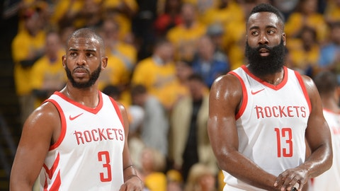 OAKLAND, CA - MAY 22:  Chris Paul #3 and James Harden #13 of the Houston Rockets during the game against the Golden State Warriors in Game Four of the Western Conference Finals of the 2018 NBA Playoffs on May 22, 2018 at ORACLE Arena in Oakland, California. NOTE TO USER: User expressly acknowledges and agrees that, by downloading and or using this photograph, user is consenting to the terms and conditions of Getty Images License Agreement. Mandatory Copyright Notice: Copyright 2018 NBAE (Photo by Noah Graham/NBAE via Getty Images)