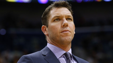 NEW ORLEANS, LA - MARCH 22:  Head coach Luke Walton of the Los Angeles Lakers reacts during the first half against the New Orleans Pelicans at the Smoothie King Center on March 22, 2018 in New Orleans, Louisiana. NOTE TO USER: User expressly acknowledges and agrees that, by downloading and or using this photograph, User is consenting to the terms and conditions of the Getty Images License Agreement.  (Photo by Jonathan Bachman/Getty Images)