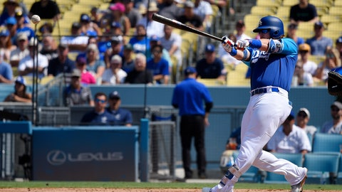 <p>               Los Angeles Dodgers' Justin Turner hits a two RBI double during the fifth inning of a baseball game Sunday, Aug. 26, 2018, in Los Angeles. (AP Photo/Mark J. Terrill)             </p>
