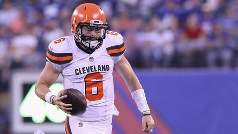 EAST RUTHERFORD, NJ - AUGUST 09:  Baker Mayfield #6 of the Cleveland Browns carries the ball in the second quarter against the New York Giants during their preseason game on August 9,2018 at MetLife Stadium in East Rutherford, New Jersey.  (Photo by Elsa/Getty Images)