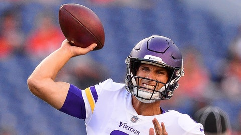 DENVER, CO - AUGUST 11:  Quarterback Kirk Cousins #8 of the Minnesota Vikings throws as he warms up before  an NFL preseason game against the Denver Broncos at Broncos Stadium at Mile High on August 11, 2018 in Denver, Colorado. (Photo by Dustin Bradford/Getty Images)