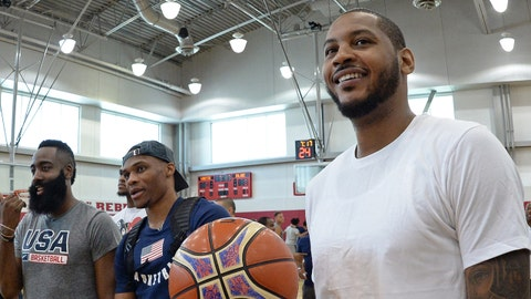 LAS VEGAS, NV - JULY 27:  James Harden, Carmelo Anthony and Russell Westbrook talk during USAB Minicamp at Mendenhall Center on the University of Nevada, Las Vegas campus on July 27, 2018 in Las Vegas, Nevada. NOTE TO USER: User expressly acknowledges and agrees that, by downloading and/or using this Photograph, user is consenting to the terms and conditions of the Getty Images License Agreement. Mandatory Copyright Notice: Copyright 2018 NBAE (Photo by Andrew D. Bernstein/NBAE via Getty Images)