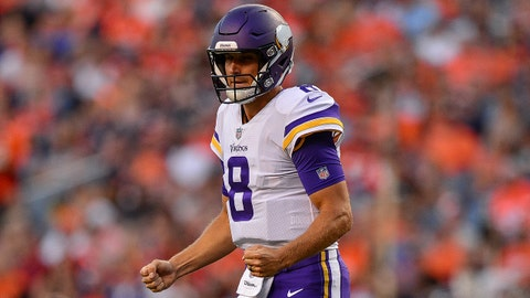 DENVER, CO - AUGUST 11:  Quarterback Kirk Cousins #8 of the Minnesota Vikings celebrates after a touchdown pass to wide receiver Stefon Diggs #14 in the first quarter of a game against the Denver Broncos during an NFL preseason game at Broncos Stadium at Mile High on August 11, 2018 in Denver, Colorado. (Photo by Dustin Bradford/Getty Images)