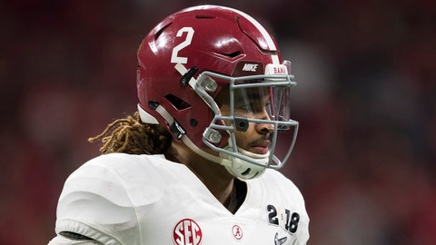 ATLANTA, GA - JANUARY 08: Jalen Hurts #2 of the Alabama Crimson Tide looks to the sidelines against the Georgia Bulldogs during the College Football Playoff National Championship held at Mercedes-Benz Stadium on January 8, 2018 in Atlanta, Georgia. Alabama defeated Georgia 26-23 for the national title. (Photo by Jamie Schwaberow/Getty Images)