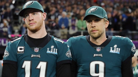 MINNEAPOLIS, MN - FEBRUARY 04:  Malcolm Jenkins #27, Carson Wentz #11 and Nick Foles #9 of the Philadelphia Eagles stand for the national anthem prior to Super Bowl LII against the New England Patriots at U.S. Bank Stadium on February 4, 2018 in Minneapolis, Minnesota.  (Photo by Elsa/Getty Images)