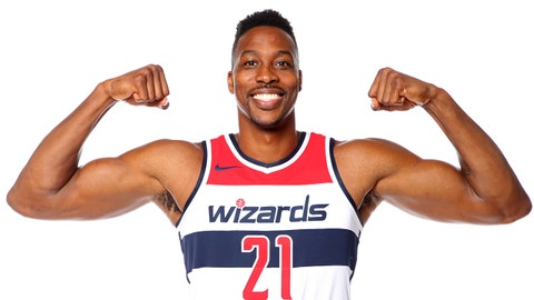 WASHINGTON, DC - JULY 23: Dwight Howard #21 of the Washington Wizards poses for a portrait after an introductory press conference at the Capital One Arena on July 23, 2018 in Washington, DC. NOTE TO USER: User expressly acknowledges and agrees that, by downloading and/or using this photograph, user is consenting to the terms and conditions of the Getty Images License Agreement. Mandatory Copyright Notice: Copyright 2018 NBAE (Photo by Ned Dishman/NBAE via Getty Images)