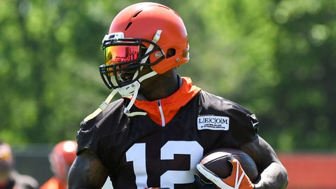 BEREA, OH - MAY 23, 2018: Wide receiver Josh Gordon #12 of the Cleveland Browns carries the ball during an OTA practice at the Cleveland Browns training facility in Berea, Ohio. (Photo by: 2018 Diamond Images/Getty Images)