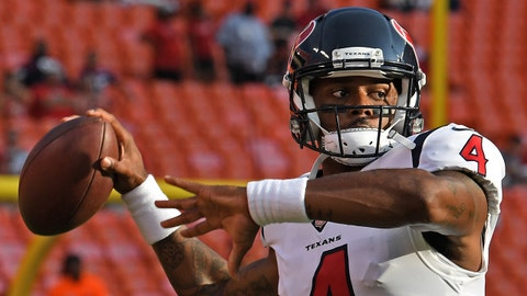 KANSAS CITY, MO - AUGUST 09:  Quarterback Deshaun Watson #4 of the Houston Texans throws a pass during pre-game warmups, prior to a pre-season game against the Kansas City Chiefs on August 9, 2018 at Arrowhead Stadium in Kansas City, Missouri.  (Photo by Peter Aiken/Getty Images)