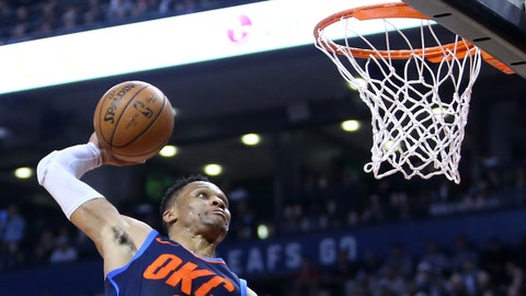 TORONTO, ON - MARCH 18:  Russell Westbrook #0 of the Oklahoma City Thunder dunks the ball during the first half of an NBA game against the Toronto Raptors at Air Canada Centre on March 18, 2018 in Toronto, Canada.  NOTE TO USER: User expressly acknowledges and agrees that, by downloading and or using this photograph, User is consenting to the terms and conditions of the Getty Images License Agreement.  (Photo by Vaughn Ridley/Getty Images)