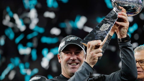 MINNEAPOLIS, MN - FEBRUARY 04:  Head coach Doug Pederson of the Philadelphia Eagles celebrates with the Vince Lombardi Tropy after his teams 41-33 victory over the New England Patriots in Super Bowl LII at U.S. Bank Stadium on February 4, 2018 in Minneapolis, Minnesota. The Philadelphia Eagles defeated the New England Patriots 41-33.  (Photo by Kevin C. Cox/Getty Images)