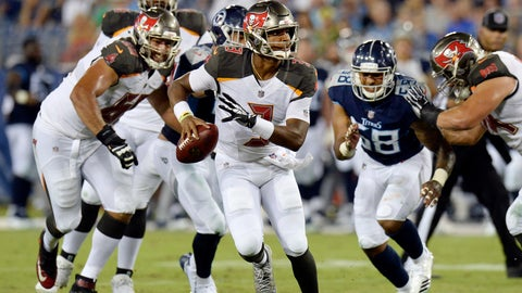 <p>               Tampa Bay Buccaneers quarterback Jameis Winston looks for a receiver as he scrambles in the first half of a preseason NFL football game against the Tennessee Titans Saturday, Aug. 18, 2018, in Nashville, Tenn. (AP Photo/Mark Zaleski))             </p>