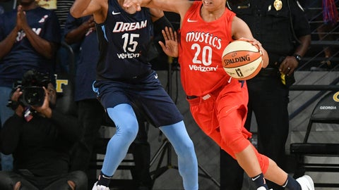 <p>               Washington Mystics guard Kristi Toliver (20) tries to get past the defense of Atlanta Dream guard Tiffany Hayes (15) during the first half of Game 2 of a WNBA semifinals basketball playoff Tuesday, Aug. 28, 2018, in Atlanta. (AP Photo/John Amis)             </p>