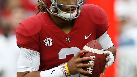<p>               FILE-In this Nov. 18, 2017, file photo, Alabama quarterback Jalen Hurts (2) sets back to pass during the first half of an NCAA college football game against Mercer, in Tuscaloosa, Ala. The quarterback battle between 28-game starter Hurts and Tua Tagovailoa has hogged the headlines, overshadowing the fact that eight members of the nation's top defense were drafted. Gone are the starting secondary, including All-American Minkah Fitzpatrick, and a top reserve. (AP Photo/Brynn Anderson, File)             </p>