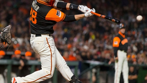 <p>               San Francisco Giants Buster Posey hits an RBI single against the Texas Rangers during the fourth inning of a baseball game in San Francisco, Friday, Aug 24, 2018. (AP Photo/John Hefti)             </p>