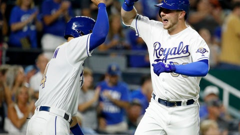 <p>               Kansas City Royals' Ryan O'Hearn, right, celebrates with Alex Gordon after hitting a two-run home run during the eighth inning of a baseball game against the Baltimore Orioles on Friday, Aug. 31, 2018, in Kansas City, Mo. (AP Photo/Charlie Riedel)             </p>