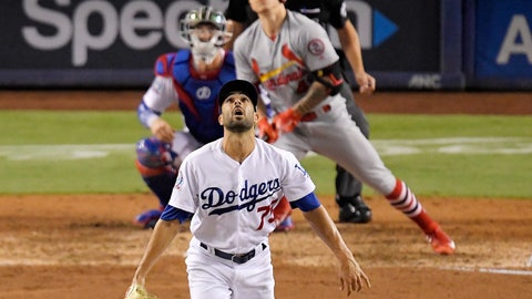 <p>               St. Louis Cardinals' Tyler O'Neill and Los Angeles Dodgers relief pitcher Scott Alexander, foreground,  watch O'Neill home during the eighth inning of a baseball game Wednesday, Aug. 22, 2018, in Los Angeles. (AP Photo/Mark J. Terrill)             </p>