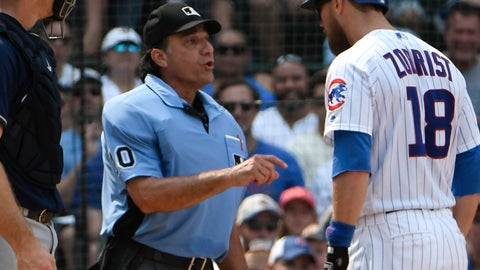 <p>               Chicago Cubs' Ben Zobrist (18) argues a strike call with umpire Phil Cuzzi (10) during the sixth inning of a baseball game, Tuesday, Aug. 14, 2018, in Chicago. (AP Photo/David Banks)             </p>