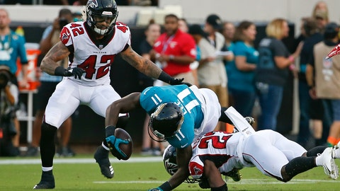<p>               Jacksonville Jaguars wide receiver Marqise Lee (11) is injured as he is tackled by Atlanta Falcons cornerback Damontae Kazee, right, and linebacker Duke Riley (42) during the first half of an NFL preseason football game, Saturday, Aug. 25, 2018, in Jacksonville, Fla. Lee was taken off the field on an medical cart after the play. (AP Photo/Stephen B. Morton)             </p>