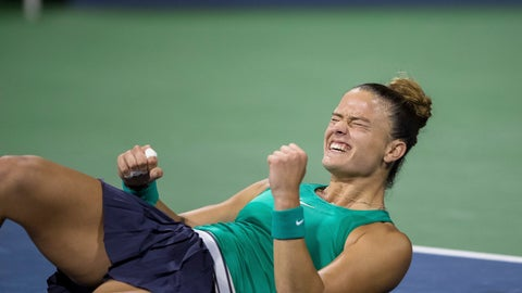 <p>               Maria Sakkari, of Greece, reacts after defeating Danielle Collins, of the United States, during the semifinals of the Mubadala Silicon Valley Classic tennis tournament in San Jose, Calif., Saturday, August 4, 2018. Sakkari won 3-6, 7-5, 6-2. (AP Photo/John Hefti)             </p>