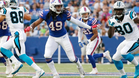<p>               FILE - In this Aug. 9, 2018, file photo, Buffalo Bills linebacker Tremaine Edmunds (49) plays against the Carolina Panthers during the first half of an NFL football game, in Orchard Park, N.Y. The Bills are very high on Edmunds, whom they traded up six spots to select with the No. 16 pick out of Virginia Tech, and then proceeded to immediately put him among the starters during the team's first spring practice.(AP Photo/Jeffrey T. Barnes, File)             </p>