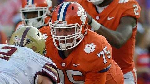 <p>               FILE - In this Sept. 23, 2017, file photo, Clemson's Mitch Hyatt (75) battles Boston College's Zach Allen as he protects quarterback Deshaun Watson (2) during the second half of an NCAA college football game in Clemson, S.C. Hyatt was selected to the AP Preseason All-America team, Tuesday, Aug. 21, 2018. (AP Photo/Richard Shiro, File)             </p>