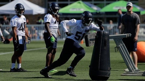 <p>               File-This July 26, 2018, file photo shows Seattle Seahawks linebacker Barkevious Mingo (51) running a drill during NFL football training camp, in Renton, Wash.  The Seattle Seahawks would be thrilled if Mingo became the new version of what Bruce Irvin was during their championship run, be strong on stopping the run in early downs, and be a threat as a rusher in passing situations. Doing so would mean Mingo is finally matching the expectation that came with being the No. 6 overall pick five years ago and has only been displayed in brief moments during his first three stops in the NFL.(AP Photo/Ted S. Warren, File)             </p>