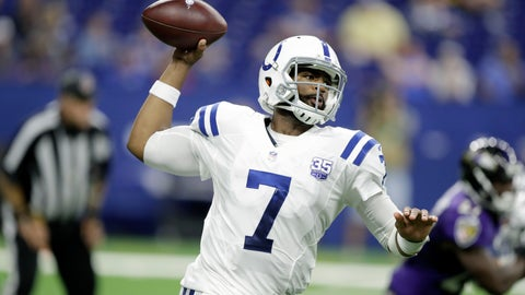 <p>               FILE - In this Aug. 20, 2018, file photo, Indianapolis Colts quarterback Jacoby Brissett (7) throws in the second half of an NFL preseason football game against the Baltimore Ravens, in Indianapolis. With Andrew Luck benched, Brissett is expected to make his first and possibly final start of the season at Cincinnati. And if all goes well for the Colts, Brissett may not even throw another official pass this year.(AP Photo/Darron Cummings, File)             </p>