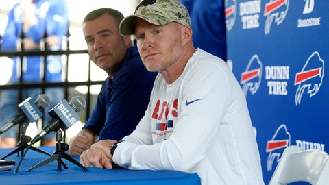 <p>               FILE - In this July 26, 2018, file photo, Buffalo Bills head coach Sean McDermott, right, and general manager Brandon Beane speak to reporters before practice at the NFL football team's training camp in Pittsford, N.Y. The two spent the offseason continuing a major roster overhaul in a bid to rebuild through youth.  (AP Photo/Adrian Kraus, File)             </p>
