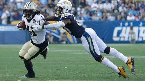 <p>               File-This Aug. 25, 2018, file photo shows New Orleans Saints running back Alvin Kamara getting away from Los Angeles Chargers defensive back Derwin James during the first half of an NFL preseason football game in Carson, Calif. Kamara was New Orleans' second-leading rusher last season with 728 yards and eight TDs, as well as the Saints' second-leading receiver with 81 catches for 826 yards and five TDs. He also had a 106-yard kickoff return for a score, giving him a team-leading 14 total TDs. (AP Photo/Marcio Jose Sanchez, File)             </p>
