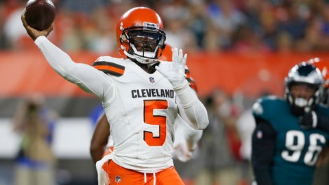 <p>               Cleveland Browns quarterback Tyrod Taylor throws during the first half of an NFL football game against the Philadelphia Eagles, Thursday, Aug. 23, 2018, in Cleveland. (AP Photo/Ron Schwane)             </p>