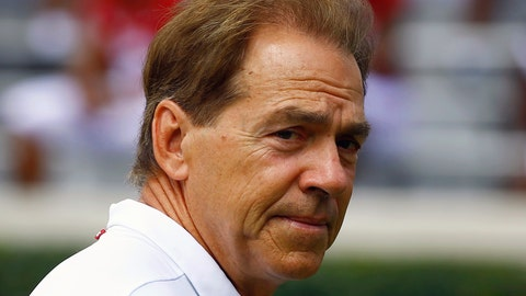 <p>               FILE - In this Aug. 4, 2018, file photo, Alabama head coach Nick Saban walks around the field before an NCAA college football practice, in Tuscaloosa, Ala. Saban had to recruit six assistant coaches during the offseason while elevating two others to coordinator positions. He landed a group he's hoping will help the top-ranked Crimson Tide contend for not only more championships but more of the nation's top prospects. (AP Photo/Butch Dill, File)             </p>