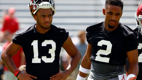 <p>               FILE - In this Aug. 4, 2018, file photo, Alabama quarterbacks Jalen Hurts (2) and Tua Tagovailoa (13) runs drills during an NCAA college football practice, in Tuscaloosa, Ala. Alabama enters game week with no answer, publicly at least, to the question of who will start at quarterback against Louisville. (AP Photo/Butch Dill, File)             </p>